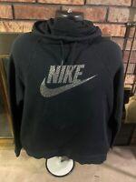 Nike Swoosh Spellout Logo Hoodie Hooded Sweatshirt Mens Size XL Black Silver