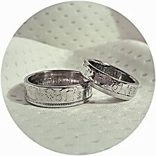 UK Two Shilling  his & hers handmade coin ring set various sizes