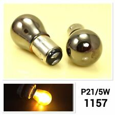 1157 2057 7528 P21/5W BAY15D Front Signal Light Silver Chrome Amber Bulb A1 AX