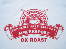 Great! 80s vtg Carnegie Library Ox Roast T Shirt white 50/50 Small