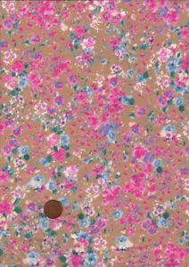 100% Cotton Lawn Fabric Small Impressionist Floral Pink Blue Ecru Patchwork