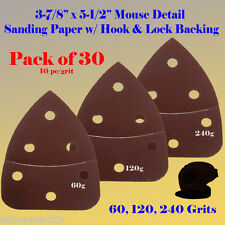 30X Mouse Detail Sander Sandpaper Hook & Loop 120g For Craftsman Ryobi Skil