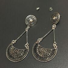 Bohemian Boho Style Ethnic Antique Silver Chain Charm Dangle Women Earrings