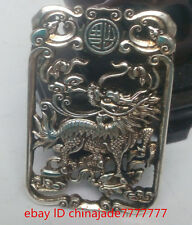 Antique collection manual Tibet silver Double sided statue of kirin pendant