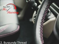 FOR IKCO ARISUN -BLACK STEERING WHEEL COVER BURGUNDY STITCH