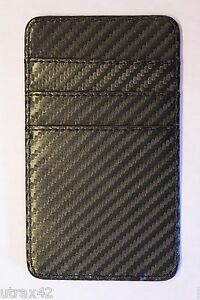 Faux Carbon Fiber Minimalist Wallet Front Pocket 6 Card Cash Slots Slim Thin NEW