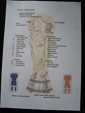 2010 World Cup Final Spain v Netherlands Matchsheet