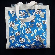 "Large Tote Shopper Attached Makeup Bag 14"" Blue Floral 100% Cotton Liz Claiborne"