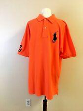 Men s Polo Ralph Lauren Big Pony Shirt - Mesh Knit Short Sleeve - Orange -  LT ecd826082e38
