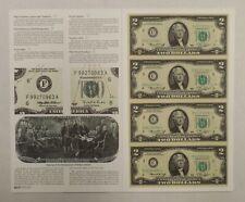 1976 - Uncut U.S. Currency - 4 x $2 Bills - FRN - C District - Star Notes