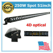 250W 51inch Single Row Led Light Bar Fits GMC Jeep ATV 4D Optical Chevrolet Ford