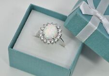 Opal 10X12mm Oval Clear Topaz Accent Combination 925 Sterling Silver Ring Size 9