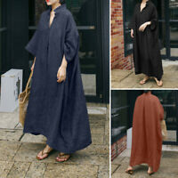 Women Long Sleeve V Neck Casual Club Cocktail Solid Loose Maxi Shirt Dress Plus