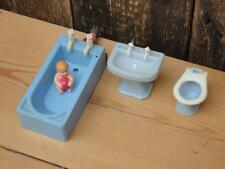 RARE Vintage Plastic Dolls House Bath Plumbable Taps Sink Toilet Rubber Baby F3