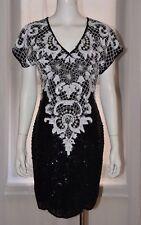 Vintage CARINA Black White Beaded Sequin Silk Evening Cocktail Dress Small S VTG