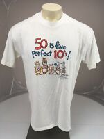 Vtg 80s 50 is Five Perfect 10s Birthday Humor Hallmark Shoebox XLarge TShirt USA