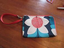 Fossil Wristlet Wallet Navy Aqua Blue White ORange Red Flowers Easy Travel fall