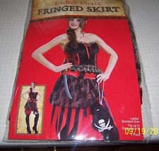 New Ladies Pirate Fringed Skirt Steampunk Short Stripes-Fits Up To Dress Sz 12