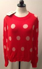 WILDFOX Couture NWT Red Pink Polka Dot It Sweater Sz XS Extra Small  $257 NEW