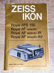 Originale Bedienungsanleitung Zeiss Ikon Royal AFS selectiv IR/AV