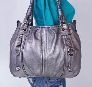 B. MAKOWSKY Large Silver Leather Shoulder Hobo Tote Satchel Purse Bag