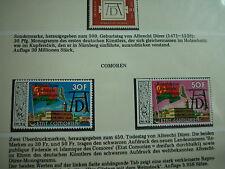 aus ABO: Albrecht DÜRER - Edition 450 JAhre - 3 werte COMOREN m. Aufruck selten