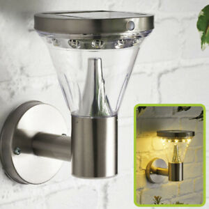 LED Stainless Steel Induction Solar Wall Light Waterproof Lantern Lamp Outdoor