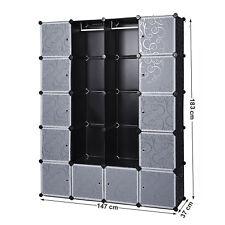 NEU! XXL Steckregal mit Türen Schrank Kunststoff Kleiderschrank DIY 147x47x183cm