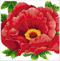 Peony Counted Cross Stitch Kit 14 count 41cm x 41cm 14CT with white Aida