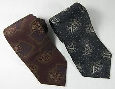 2 Men's TIES 100% Silk Made in USA Modern Designs PAAC Necktie 1 Brown 1 Grey