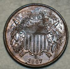 Uncirculated 1867 Two Cent Piece, Sharp specimen.