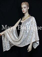 Maya Matazaro Ivory Pearl Camellia Shawl Wrap Scarf Burnout Velvet Elegant!