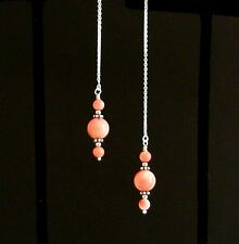 *IAJ* PINK CORAL ROUND DROP DANGLE, STERLING SILVER Threads Threader Earrings
