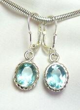 Blautopas Ohrhänger 925 Silber mit Klappbrisur, ovale Edelsteine - UNIKAT - neu