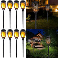 8pcs 33LED Solar Power Torch Light Flickering Flame Garden Waterproof Yard Lamp
