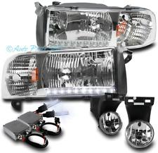 94-01 DODGE RAM DRL LED CHROME CRYSTAL HEAD LIGHTS LAMPS W/BUMPER FOG+50W 8K HID