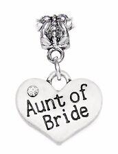 Aunt of Bride Wedding Family Gift Dangle Charm for Silver European Bead Bracelet