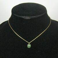 Necklace Womens Strand 15 Inch Goldtone Oval Green Glass Pendant Chain Collar