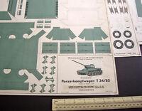 Soviet T34 Panzer Tank Wilhelmshavener Modellbaubogen Lehrmittelinstitut 1950s