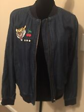 WOMENS ABOUND DENIM FULL ZIP BOMBER JACKET SIZE SMALL.