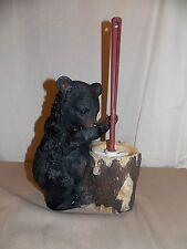 NEW BLACK BEAR HOLDING HIS NOSE BATHROOM TOILET BRUSH HOLDER FIGURE STATUE CUTE