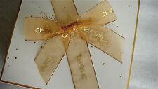 """Chanel 6"""" Bow Holiday Gift Sheer Yellow Gold Organza 1.5"""" Ribbon 12"""" Cut sticker"""