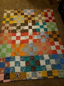 Handmade Twin Square Patchwork Quilt, Blanket, Bed Cover - Blue, Red, Brown