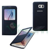 Custodia S-View originale Samsung per Galaxy S6 G920F cover Fabric Tessuto NERO