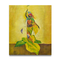 NY Art -  Elegant Dancing African Woman in Dress 20x24 Oil Painting - On Sale!