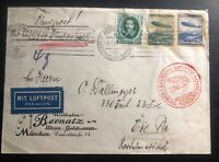 1936 Munich Germany Hindenburg Zeppelin LZ 129 Airmail Cover to Erie Pa USA