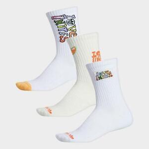 Adidas Socks Womens Medium Authentic Love Unites Pride 3 Pair Crew Length White