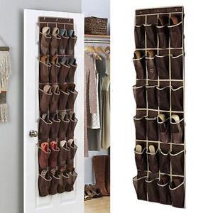24 Pocket Home Over the Door Hanging Shoe Mesh Storage Holder Rack Closet Shoes