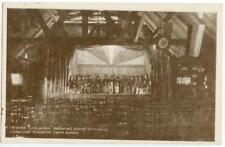 c1917 WWI Egham England Canadian Forestry Camp YMCA Hut Interior Band on Stage