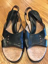 Söfft SOFFT Clogs Wedges Slingbacks LEATHER BLACK High Heels Women Shoes Sz 10 #